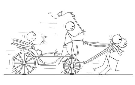 Cartoon stick man drawing conceptual illustration of businessman,nobleman, ruler or superior sitting in carriage or coach drawn or pulled by two subordinates. Business concept of dominance, seniority, subordination and power.