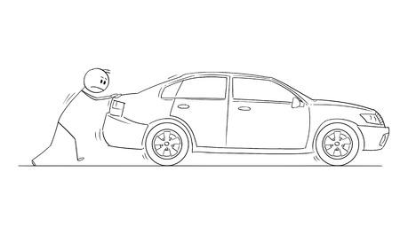 Hombre del palillo de la historieta que dibuja la ilustración conceptual del hombre de negocios que empuja el coche roto. Concepto de negocio de problema, obstáculo y fiabilidad.