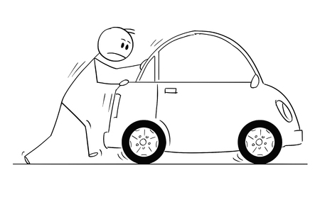 Cartoon stick man drawing conceptual illustration of businessman pushing broken car. Business concept of problem, obstacle and reliability.