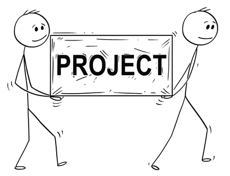 Cartoon stick man drawing conceptual illustration of two businessmen carrying big stone block with projects text or sign. Business concept of teamwork. 스톡 콘텐츠