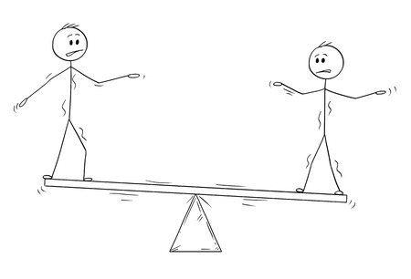 Cartoon stick man drawing conceptual illustration of two businessmen standing on seesaw trying to balance. Business concept of teamwork and individuality effort. Stock Photo