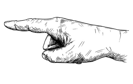 Vector artistic pen and ink drawing illustration of hand with finger pointing left direction. Banque d'images - 100548745