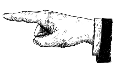 Vector artistic pen and ink drawing illustration of businessman hand in suit with finger pointing left direction.