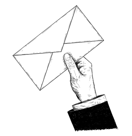 Vector artistic pen and ink drawing illustration of businessman hand holding mail letter envelope. Business concept of communication or contact.