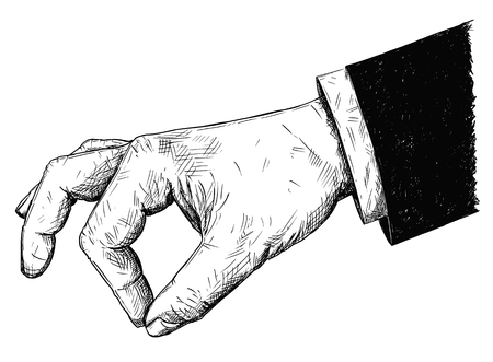 Vector artistic pen and ink drawing illustration of businessman hand in suit holding something small between pinch fingers. Possibly spice or salt or pepper. Illustration