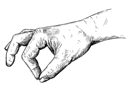 Vector artistic pen and ink drawing illustration of hand holding something small between pinch fingers. Possibly spice or salt or pepper.