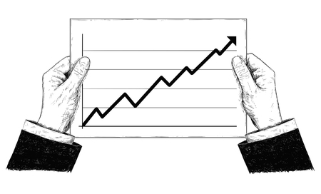 Vector artistic pen and ink drawing illustration of hands holding document or paper with raising financial chart or graph. Illustration
