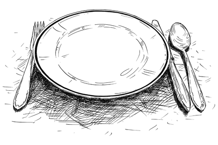 Vector artistic pen and ink drawing illustration of empty plate, knife and fork. Stock Illustratie