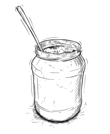 Vector artistic pen and ink drawing illustration of jam, marmalade or honey jar and spoon. 일러스트