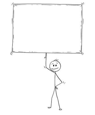 Cartoon stick man drawing conceptual illustration of businessman holding and balancing big empty or blank sign on one finger.