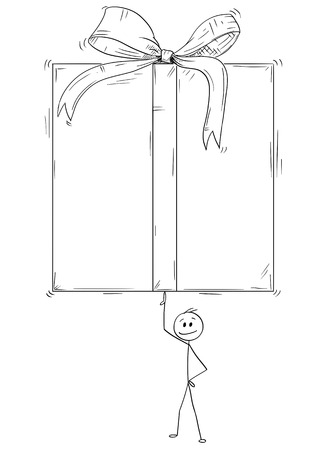 Cartoon stick man drawing conceptual illustration of businessman holding or balancing big gift box in wrap on one finger.
