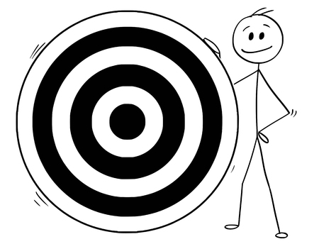 Cartoon stick man drawing conceptual illustration of businessman holding big dartboard target. Business concept of goal, achievement and success. Stock Illustratie