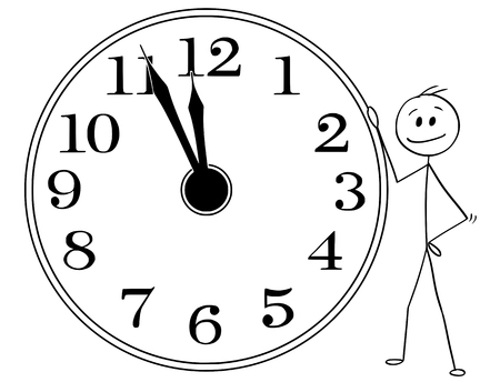 Cartoon stick man drawing conceptual illustration of smiling businessman leaning on big wall clock displaying five minutes before twelve hours or midday or midday. Business or political concept of deadline or time up.