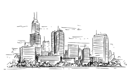 Vector artistic sketchy pen and ink drawing illustration of generic city high rise cityscape landscape with skyscraper buildings.