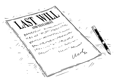 Vector artistic ink drawing illustration of pen and last will and testament document to sign. Standard-Bild - 101047796