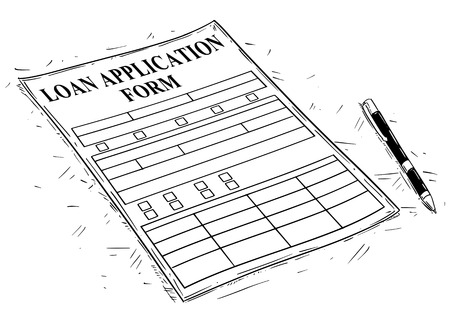 Vector artistic pen and ink drawing illustration of Loan Application form.
