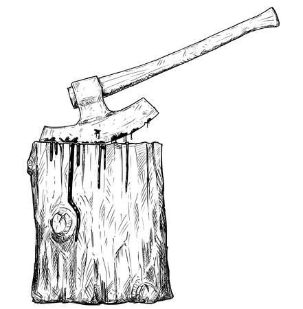 Vector artistic pen and ink drawing illustration of medieval executioner axe or ax and execution block. Illustration
