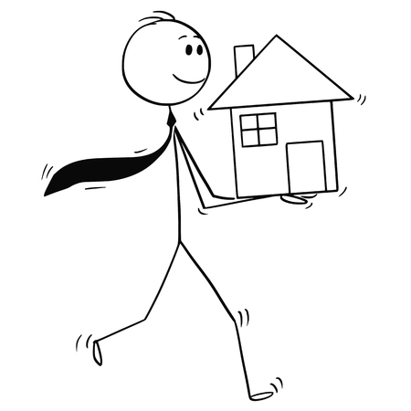 Cartoon stick man drawing conceptual illustration of businessman, investor or realtor holding small house in hands. Business concept of mortgage and real estate investment.