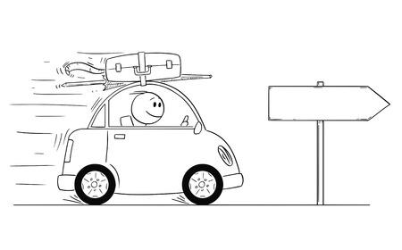Cartoon stick uomo disegno illustrazione concettuale di uomo sorridente in piccola automobile che va in vacanza o in vacanza. Segno vuoto per il tuo testo. Vettoriali