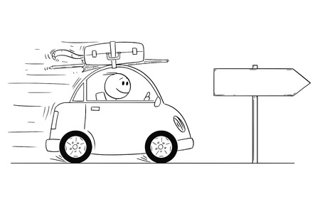 Cartoon stick man drawing conceptual illustration of smiling man in small car going on holiday or vacation. Empty sign for your text. Vectores