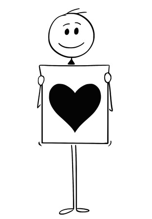 Cartoon stick man drawing conceptual illustration of man or businessman holding sign with big heart symbol. Concept of love declaration.