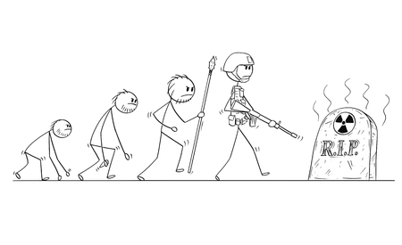Cartoon stick man drawing conceptual illustration of human evolution process progress. Modern human with no successor because of nuclear war. Иллюстрация