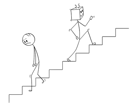 Cartoon stick man drawing conceptual illustration of human going down the stairs and robot moving up quickly. Concept of artificial intelligence or ai superiority and replacing declining mankind.