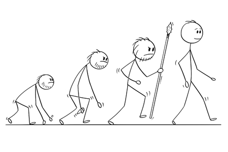 Cartoon stick man drawing conceptual illustration of human evolution process progress.