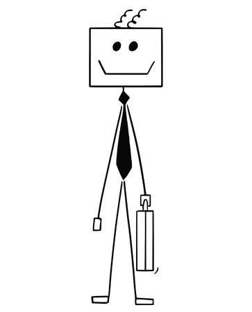 Cartoon stick man drawing conceptual illustration of robot or robotic businessman. Concept of artificial intelligence in business.