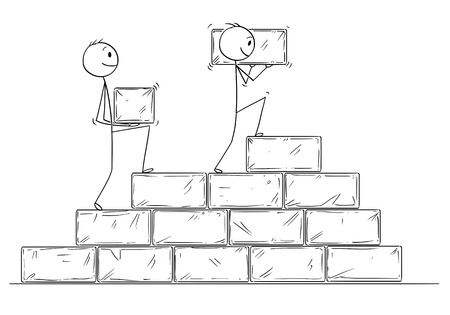 Cartoon stick man drawing conceptual illustration of two businessmen building staircase or stairway or project from big stone blocks. Business concept of cooperation and teamwork.
