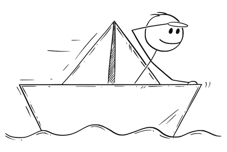 Cartoon stick man drawing conceptual illustration of businessman sailing paper ship or boat. Business concept of risk, market fragility and vulnerability.