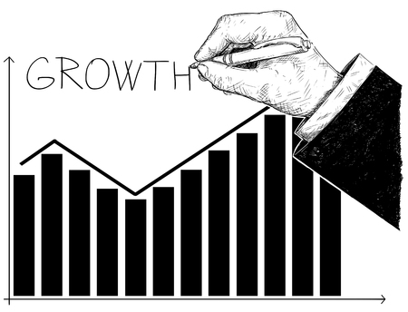 Cartoon conceptual illustration of financial chart or graph or diagram and hand writing word grow. Business concept of profit and success.