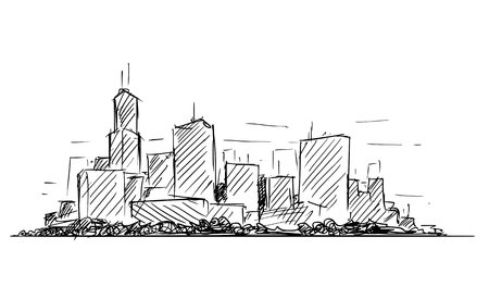 artistic sketchy pen and ink drawing illustration or sketch of generic city high rise cityscape landscape with skyscraper buildings. Illustration