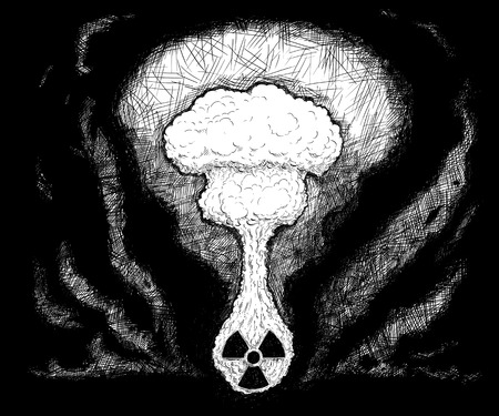 Artistic pen and ink drawing illustration of nuclear explosion coming from radioactivity symbol. Stock Photo