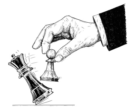 Vector artistic pen and ink drawing illustration of hand holding chess pawn figure and knocking down the king. Business concept of checkmate strategy and game.