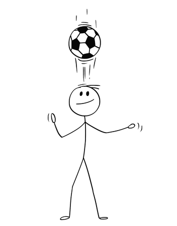 Cartoon stick man drawing conceptual illustration of football or soccer player using header technique or juggling the ball on his head for training. Vectores