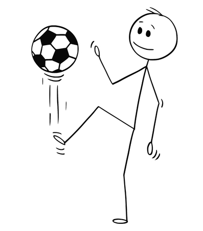 Cartoon stick man drawing conceptual illustration of football or soccer player juggling or kicking the ball for training.