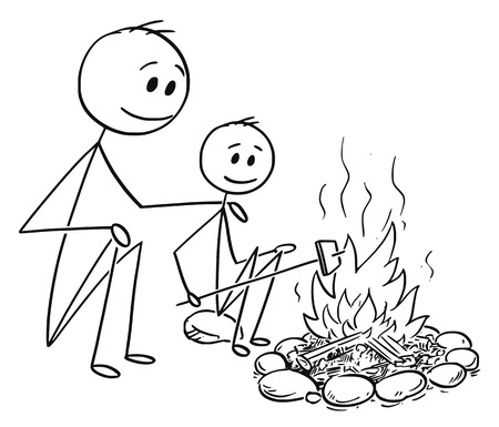Cartoon stick man drawing conceptual illustration of father and son sitting around fire or campfire. 矢量图像