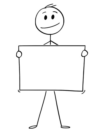 Cartoon stick man drawing conceptual illustration of businessman holding empty or blank paper or sign.