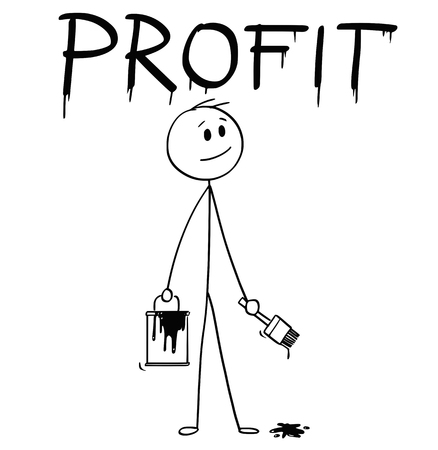 Cartoon stick man drawing conceptual illustration of businessman with brush and paint can painting or drawing the word profit.