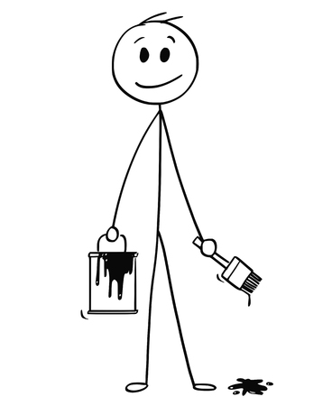 Cartoon stick man drawing conceptual illustration of smiling businessman with brush and paint can.Ready to add your text or drawing. Ilustração