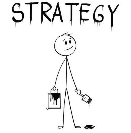Cartoon stick man drawing conceptual illustration of businessman with brush and paint can painting or drawing the word strategy.