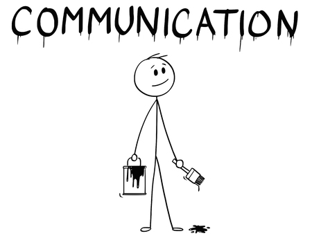 Cartoon stick man drawing conceptual illustration of businessman with brush and paint can painting or drawing the word communication. Vectores