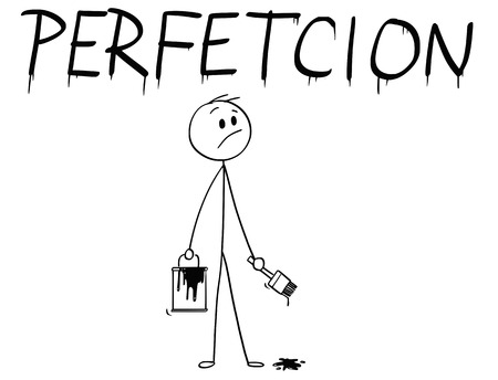 Cartoon stick man drawing conceptual illustration of businessman with brush and paint can painting or drawing the word perfection with spelling mistake. Иллюстрация