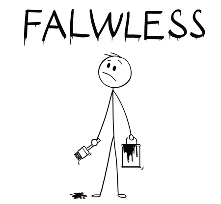 Cartoon stick man drawing conceptual illustration of businessman with brush and paint can painting or drawing the word flawless with spelling mistake.