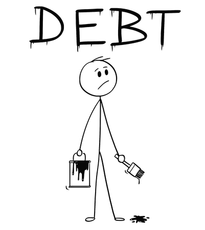 Cartoon stick man drawing conceptual illustration of businessman with brush and paint can painting or drawing the word debt.