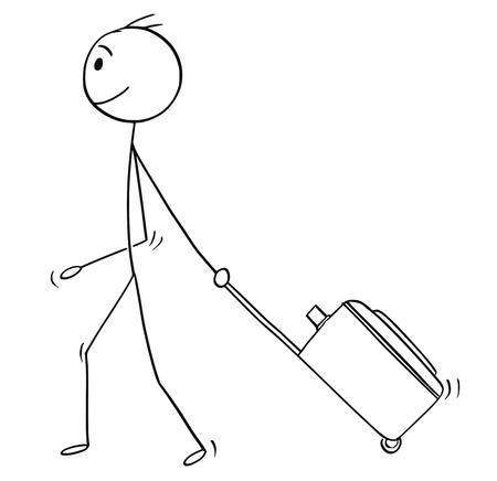 Cartoon stick man dibujo ilustración conceptual de hombre o turista masculino con equipaje con ruedas o estuche que va de vacaciones o de vacaciones.
