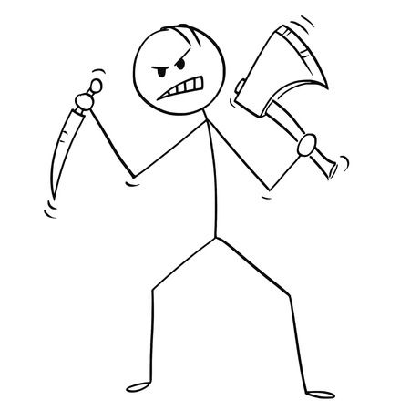 Cartoon stick man drawing illustration of mad killer or murderer with axe or ax and knife. Banco de Imagens