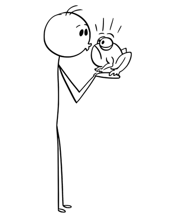 Cartoon stick man drawing conceptual illustration of man or boy kissing a frog.