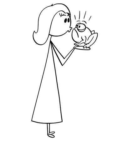 Cartoon stick man drawing conceptual illustration of woman kissing a frog.